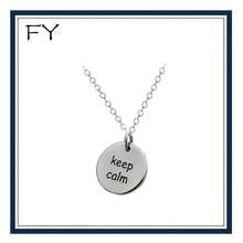 Silver Stamped Keep Calm Necklace With Custom Round Metal