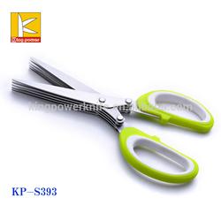 Fine mirror polishing soft grip 5 Blade herb scissors ,kitchen scissors