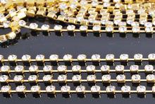 Densify crystal stone gold base crystal rhinestone cup chain,rhinestone garment accessories