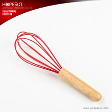 Kitchen utensils silicone wire plastic whisk with wooden handle