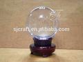 Crystal grande bola, bola de cristal claro com base de madeira para mesa de escritório decoração de negócios lembranças
