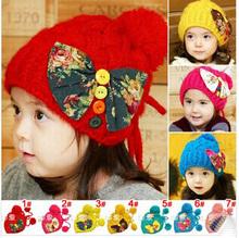 Hot Winter Keep Warm Hat Children Butterfly Knot Little Ball Crochet Knit Hats