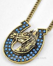 Antique acrylic animal horse head and horseshoe pendant necklace