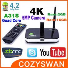 Built-in 5.0MP Camera H918S Allwinner A31S quad core android TV BOX 2GB DDR3 16GB flash