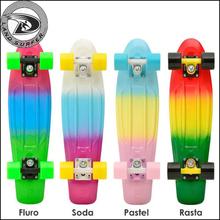 "fluro penny style skateboard,22""mini complete cruiser skateboard for sale"