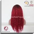 moda kinky curly cheias do laço vermelho peruca de cabelo humano
