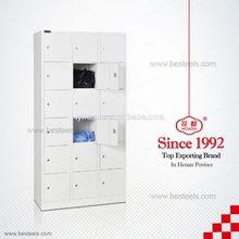 Light grey metal medical wardrobe with 18 doors