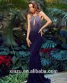 sexy halter cristal backless sereia royal azul vestido de noite