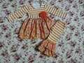 bambini fascia di età fantasia in set oange abito striscia e doulbe volant pantaloni set