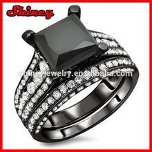 925 pure silver 5.58 Carat cubic zirconia paved black diamond black gold fashion imitation diamond wedding ring sets