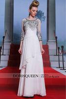 DORISQUEEN hot sale original design floor length jewel chiffon women's long sleeve evening dress