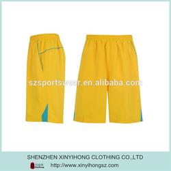 Yellow Color Dri Fit Lycra Gym Basketball Running Mens Short