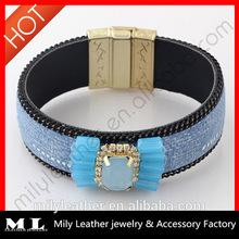 MLB 008 2014 Wholesale Leather rhinestone bracelet China Top 10 Fashion Jewelry Manufacture with supreme quality