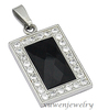 big onyx stainless steel military dog tag pendant necklace