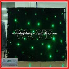 WLK-1G Black fireproof Velvet cloth Green leds star backdrop curtain stage lighting theatre
