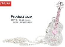 elegant jewelry diamond violin shaped usb flash drive for female birthday gift