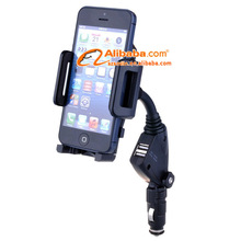 Flexible banding neck Mobile Phone Car Holder and Dual USB Cigarette lighter Charger for table pc/smartphone