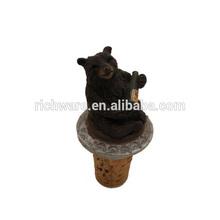 polyresin tiny bear wine cork bottle stopper