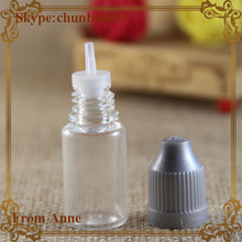 Competitive Price silver child safety cap long tip 10ml vapor liquid PET slim dropper bottle