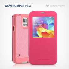 mercury goospery WOW Bumper View pu leather case for iphone4 4s