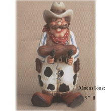 west cowboy with guns sculpture polyresin wine cork screw with holder