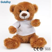 long plush stuffed bear with white t shirt