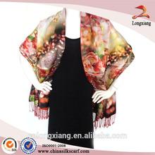 Ladies 2-ply digital printed brushed silk pashmina scarf