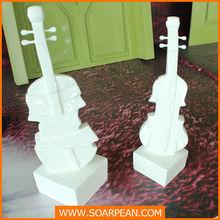 Christmas decorative white fiberglass mini violin