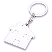 blank promotional metal custom house shaped keychain