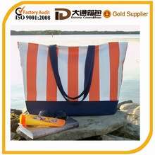 "EXTRA LARGE Beach Bag - Orange & White Stripe - ""Family Size"" Canvas Tote Bag"