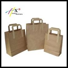 Paper Carrier Bags Kraft Takeaway Party Lunch Food Flat Handles