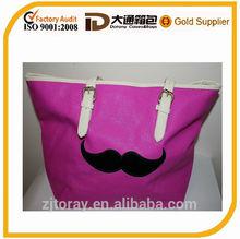 New Summer Bag Bright Purple Mustache Design Shoulder Tote Shopping School Bag