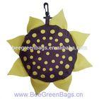 Customized 190T Polyester Sun Flower cheap nylon foldable shopping bag with zipper