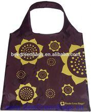 Customized 190T Polyester Sun Flower flower design gift shopping bag with zipper