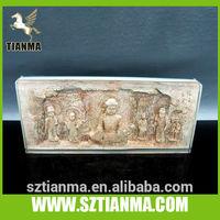 Plexiglass block embed clay sculpture buddhism souvenir
