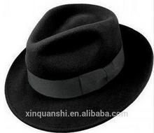New arrival fahion wool felt mens black fedora hat