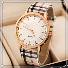 2014 Simple Style Women Quartz Dress Watches New Classic Plaid Leather Strap Watches Pink Men & Ladies Fashion Watch 2# DW005