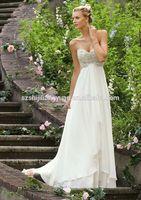 SJ1457 white sweetheart appliqued crystal bead floor length chiffon summer wedding dress