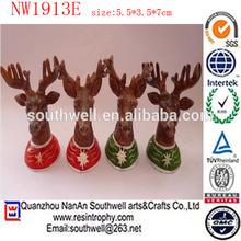 custom design folk art resin deer antler for Christmas decoration