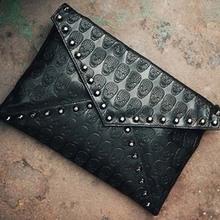 BV6037 2014 hefei zhijing best selling Wholesale punk rivet series skull shoulder bag clutch envelope bag for middle aged women