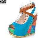 buckle strap slingbacks sandals shoes, peep toe high class women wedge heel silver high heel sandals