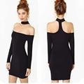 seksi kadın streç mini siyah bodycon elbise kapalı omuz uzun kollu parti kalem yular elbise g0363