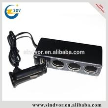 AC DC Adapter/Cigarette Lighter ,3 sockets with 1 USB port 12V Car Charger,USB DC 5V 500mA,DC 12V/24V
