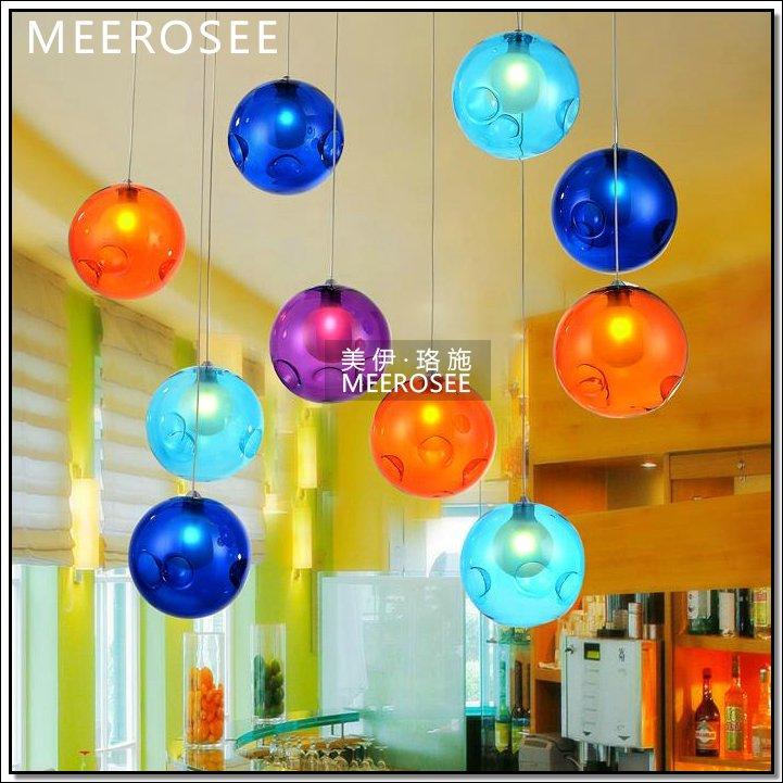 lampadari a palla : Palla colorata appesa luce, vetro decorativo pendente illuminazione ...