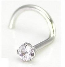 14k White Gold Nostril Screw w/ 2.0mm CZ rhinestone hoop nose rings