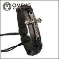 2014 neuankömmling produkt kreuz armband braun geflecht lederarmbänder für herrenschmuck großhandelspreis