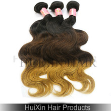 New Arrival Brazilian Ombre Color Human Hair Weft, 3 Tone Color Ombre Hair
