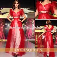 DORISQUEEN MOQ 2 pc wholesale V neck drop shipping floor length prom dresses 2014 long red
