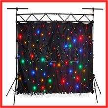 WLK-1F Black fireproof Velvet cloth Four leds star backdrop curtain disco party stage