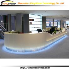 Fabulous circular shape designer white artificial marble/stone solid surface beauty salon reception desks